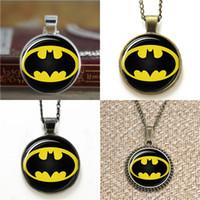 ingrosso collane di supereroe-10pcs Batman Superhero Glass Photo Collana portachiavi segnalibro gemello braccialetto orecchino