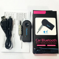 Barato Adaptador De Áudio Estéreo Sem Fio-Universal 3,5 milímetros Bluetooth Car Kit A2DP Wireless AUX Áudio Música Receptor Handsfree com microfone para telefone MP3 Retail Box
