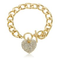 Wholesale Wholesale Women Cuban Link Chain - Wholesale-New Gold bracelets for women Clear Iced Out Heart 8.5 Inch + Cuban Link 12mm Toggle Bracelet bracelet homme pulseras mujer #16