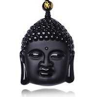 Wholesale Crystal Buddha Pendants - Natural Black Buddha Obsidian Pendant Lucky Amulet Pendant Necklace For Women Men Bead Chain Necklace Healing reiki gift