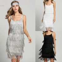 Wholesale white flapper - Women Summer Clothes Sexy Dresses Retro Straps Tassels Glam Evening Back To School Party Dress Gatsby Fringe Flapper Costume With Waistband
