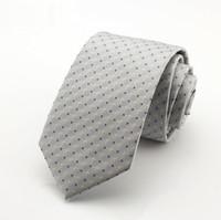 Wholesale Tecido Polyester - 7 CM Preto Cinza Dots laços Corbatas Laços Para Homens Ternos Finos Vestidos Da Moda Tecido Gravata Gravatás Laços Do Partido Do Vintage