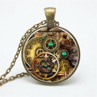 pendentifs de navire ami achat en gros de-Steampunk compas montre verre cabochon collier pendentif collier engrenages pour ami cadeau de fête d'anniversaire livraison gratuite