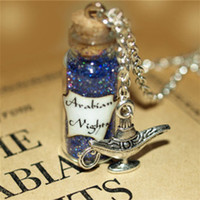 Wholesale Mystical Pendants - 12pcs Arabian Nights Necklace Aladdin, Mystical Power glass Bottle Necklace with Genie of the Lamp Charm necklace