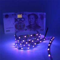 wasserdichte lila led-lichtstreifen großhandel-UV Lila Led Streifen Licht 5050 SMD 60led / m DC 12V nicht wasserdicht 395-405nm Ultraviolett Ray flexibles Streifenband Band