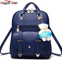 Wholesale backpack for dolls - Wholesale- Vogue Star 2017 New Casual Girls Backpack PU Leather Fashion Women Backpack School Travel Bag With Bear Doll For Teenagers LA148