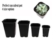 Wholesale Pots For Flowers - 4 size option square nursery plastic flower pot for indoor home desk, bedside or floor, and outdoor yard,lawn or garden planting