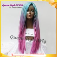 Wholesale Long Red Purple Wigs - Pastel Blue Ombre purple Rose Red Color Wigs Long straight Glueless Lace Front Wig Synthetic Mermaid Unicorn Rainbow Color Cosplay wigs