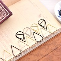 Wholesale Funny Shapes - Metal Material Drop Shape Paper Clips gold silver color funny kawaii bookmark office shool stationery marking clips