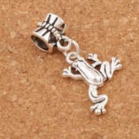 cuentas de rana al por mayor-Frog Charms Beads 60pcs / lot 30.8x15.6mm Antique Silver Dangle Fit European Pulseras Joyería DIY B167