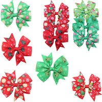 cintas de arcos para niñas al por mayor-Kids Hair Bows Ribbons Niñas Christmas Barrettes Pinwheel Bow con Clip Baby Snowflake Accesorios para el Cabello Fashion Layered Bow Hair Clips DHL