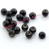 Black Ball Round Bead Screw Acier DIY Navel Nose Body Piercing Jewelry Cool Lip stud Barbell Eyebrw Ring 16G 14G accessoire à bille
