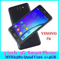 Wholesale Dual Phone Set - Mobile Phones Android WCDMA 3G Unlocked Quad Core MTK6580 Dual Sim 1GB 4GB 5 inch Smart Cell Phone VINOVO J4 Smart Setting WhatsApp