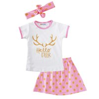 Wholesale childrens clothes online - Newest Girls Childrens Clothing Sets Short Sleeve tshirts Skirt Headwear Piece Set Letters Arrow Kids Clothes Suits Boutique Clothing