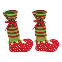 chaussures en gros cadeaux de noël achat en gros de-Santa's Helper Décorations De Noël Articles De Fête Polka Dotted Candy Sacs Sacs De Cadeau De Noël Chaussures Design En Gros