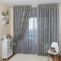 Wholesale Bedroom Design Styles - Leaf Style Design Jacquard Blackout Curtain Blind for Window Living Room Home Decoration