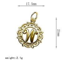 Souvenir métallique Word initial W Capital Word X Dans le cercle En alliage de zinc Lettre Charms Fit DIY Jewelry Making 100Pcs / lot