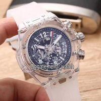 Wholesale Cheap Rubber Watch Straps - Super Clone Luxury Brand Cheap Japan VK Quartz Chronograph Skeleton Transparent Case Black Dial Mens Watch White Rubber Strap Gents Watches