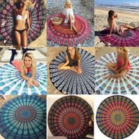 Wholesale Beauty Beds - Round Mandala Indian Tapestry Beach Towel Bikini Beach Cover Bohemian Ethnic Throw Beauty Wall Decor Beach Towel Big Bed Cover Yoga Mat #J01