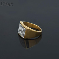 Wholesale Chunky Engagement Rings -  Punk Rock Style Gold Iced out Ring Mens Fashion Chunky Finger Bling Hip Hop Ring Size 7 9 12 Retro Titanium Steel Rings