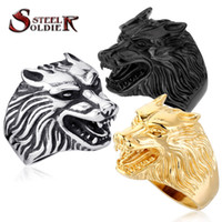 Wholesale Wolf Band Ring - Steel soldier Drop Ship Fashion Jewelry Super Cool Wolf Rings Stainless Steel Punk Biker Man Ring BR8-075