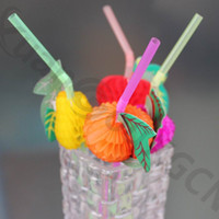 3D Multicolor Frutta Cannucce di plastica Compleanno Matrimonio Bar Club Pool Party Decorazione Forniture Arte paglia Decorazione cocktail