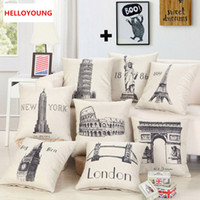 Wholesale Famous Chairs - BZ091 Cushion Cover Pillow Case Home Textiles supplies Lumbar Pillow Famous Buildings throw pillows chair seat