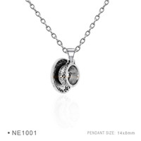 Wholesale Antique Saucer - Antique Silver Plated Chain Necklaces Birthday Gifts Cup and Saucer 3D Coffee Cup And Baby Cup Pendant Necklaces