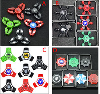 Wholesale Mini Ceramic Iron - Colorful Fidget Spinner Metal Iron Man Spider Man Captain America The Hulk Hand Spinner For Decompression Ceramic Ball Bearing EDC Toy