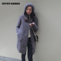 mink kadın ceketleri toptan satış-Toptan- kadın uzun peluş vizon kaşmir kazak ceket kadın kapşonlu hırka ücretsiz nakliye