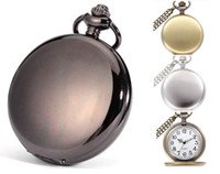 Wholesale Vintage Ladies Pocket Watch - wholesale 47MM dial mens women polish necklace chain pocket watch ladies students quartz polishing gift Bronze vintage watches