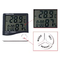 Wholesale indoor electronic display resale online - Electronic Temperature Clock HTC LCD Indoor Humidity Meter Daily Alarm And Calendar Display with Retail Package DHL OTH357