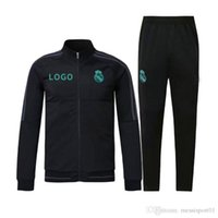 Wholesale Fleece Jogging Pants - top quality 17 18 Full Zipper Tracksuit Real Madrid Soccer Jacket Jogging Football Tops Coat Pants Training Suit Men Adults Track Suit