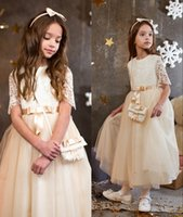 Wholesale Cheap Girls Shirts Shorts - 1Champagne Lace Short Sleeves 2016 A-line Flower Girl Dresses Vintage Kids Little Girl Wedding Dresses Cheap Pageant Dresses