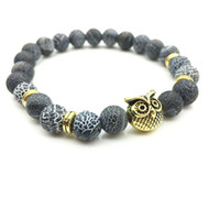 Wholesale European Owls - Wholesale- 2017 New Owl Natural Stone Beads Bracelet & Bangle for Men Women Stretch Yoga Lava Stone Jewelry Fashion Accessories for Lovers
