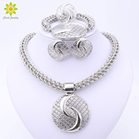 Wholesale Big Wedding Crystals Necklaces - 2017 Latest Luxury Big Dubai Silver Plated Crystal Necklace Jewelry Sets Fashion Nigerian Wedding African Beads Costume Jewelry