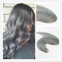 Wholesale seamless human hair extensions resale online - Silve Color Seamless Virgin Human Hair Skin Weft Tape in Remy Hair Extensions Hair Extensions Slik Straight Tape on Extension g Per Piece