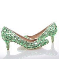 Wholesale dancing shoes green for sale - Group buy Green Rhinestone Pumps Wedding Party Shoes Middle Heel Pointed Toe Graduation Prom Dancing Shoes Crystal Mother of Bride Shoes
