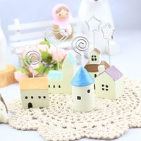 Wholesale Christmas Groceries - Creative home zakka groceries small house model photo folder business card holder Memo Clip Resin Statue Christmas 10pcs set