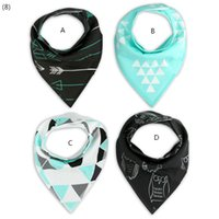 Wholesale Owl Pcs Set Baby - INS Bandana bib set  Baby bib set Baby shower gift 4 pcs one set arrow & blue and white triangle & owl designs INS
