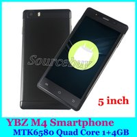 "Wholesale Dhl Cheap Cell Phone Android - Cheap M4 YBZ Designed Super-Slim 3G Smartphone 5"" Quad Core MTK6580 Android 6.0 Mobile Cell Phone 4GB ROM with free Case DHL"
