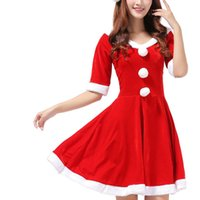 Wholesale Adult Red Christmas Dresses - Women's red Christmas dress Apparel adult sexy Christmas role-playing Costumes and Cosplay Christmas classical Sexy Costumes free shipping
