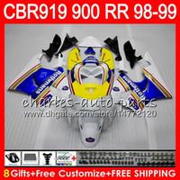 Wholesale honda cbr 919rr fairing - Body For HONDA CBR 919RR CBR900RR CBR919RR 98 99 CBR 900RR Rothmans Blue 68HM9 CBR919 RR CBR900 RR CBR 919 RR 1998 1999 Fairing kit 8Gifts