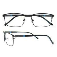 Wholesale Eyeglasses Charms - 2017 New Metal Rectangle Full Rim Acetate Temple Spring Hinge Charming Bussiness Men Prescription Optical Glasses