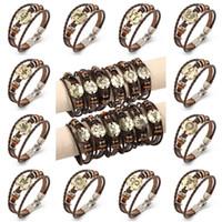 Wholesale Free Couple Wristbands - Free DHL Brown 12 Constellations Punk Leather Zodiac Bracelet Wrap Wristband Rope Cuff Bracelet Bangle Couple Bracelet Gift D373L