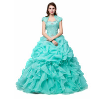 Wholesale Green Jacket Dress - Mint Green Quinceanera Dresses Cheap Sweetheart With Jacket Crystal Beaded Ruffles Organza Sweet 15 Debutante Girls Masquerade Prom Dresses