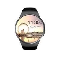 kayıp monitör toptan satış-KW18 Akıllı Bluetooth İzle Tamamen Yuvarlak Android / IOS Reloj Inteligente SIM Kart Nabız İzle Saat Mic Anti kayıp
