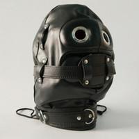 vollgesichtsmaske sex großhandel-Erotische Sex BDSM Bondage Leder Haube für Erwachsene Spiele Voll Masken Fetisch Face Augenbinde für Paar Spiele
