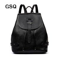 Wholesale korean brand bags sale - Wholesale- GSQ Genuine Leather Women Backpack 2016 Hot Sale Fashion Bag Famous Brand Korean Style School Bags Casual Daypacks Travel Bag