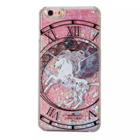 Wholesale Hard Plastic Horse - Unicorn Horse Quicksand Liquid Glitter Hard PC Case For Iphone 7 6S 6 Plus SE 5 5S Iphone7 Magical Dynamic Constellation Phone Cover